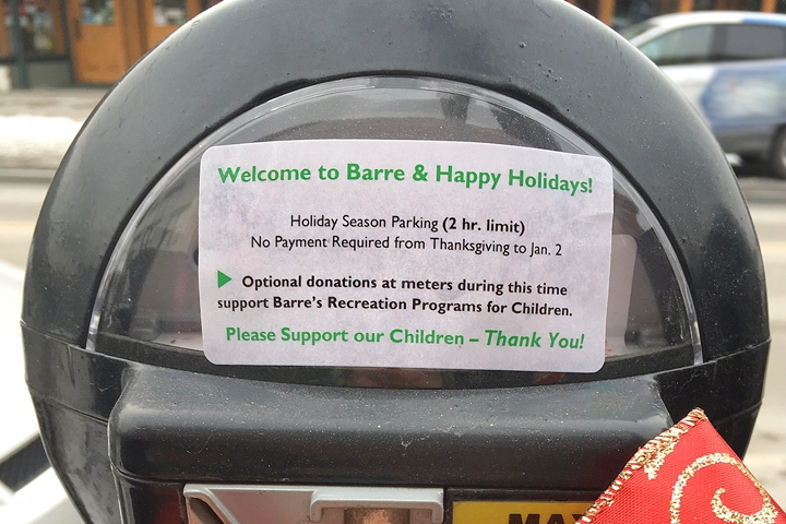 Holiday Parking in the City of Barre